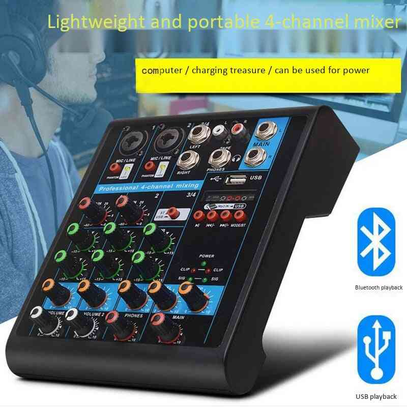 4-channel Small Bluetooth Mixer With Reverb Effect