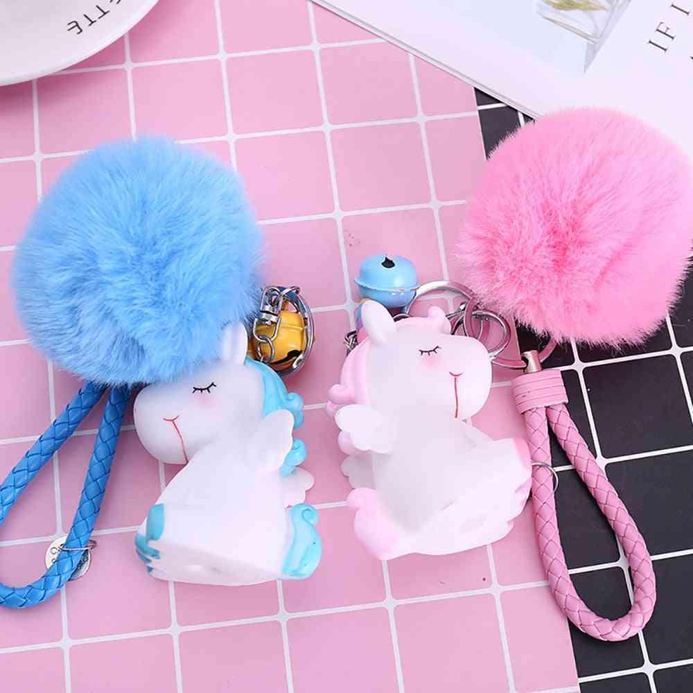 Cute Plush Unicorn Keychain - Female Hair Fluffy Ball