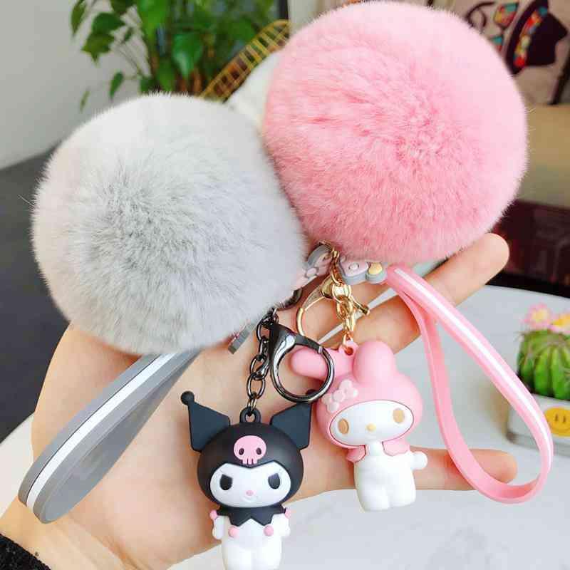 1pc Cute Anime Fur Ball Keychain - Doll Plush, Bag Pendant For