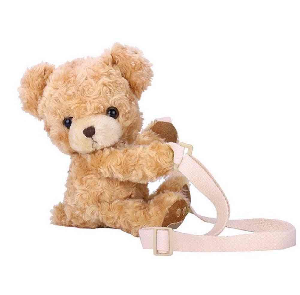 Girls Cute Smile Bear Animal Shoulder Bag And  Soft Plush Doll Lolita Handbag