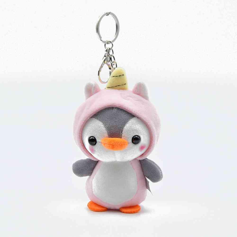1pcs Plush Cute Penguin Bee Animal Plush- Ring Key Holder Bag Decor Kids