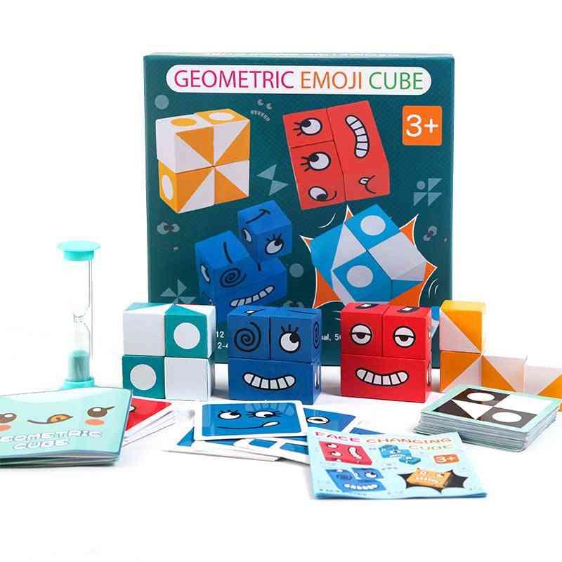 Geometric Figures Matching Face Change Cube Building Blocks - Intelligence Parent-child Board Game  (200blocks)