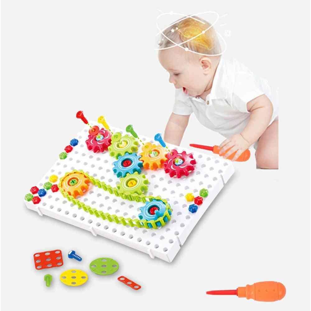 3d Puzzle Building Kit - Set Of Diy Plastic Gear Chain Toy