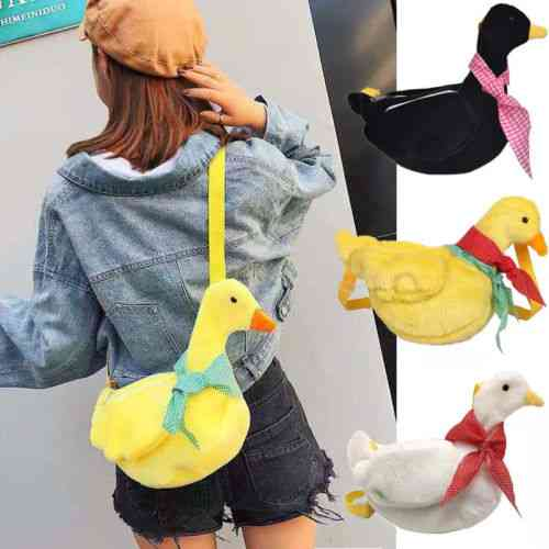 Duck With Scarf In Neck Design Plush And Soft Crossbody Shoulder-messenger Bag