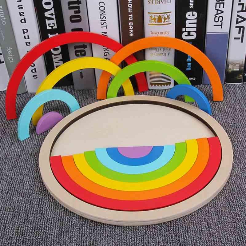 Colorful Rainbow Design, Wooden Building Blocks- Puzzle
