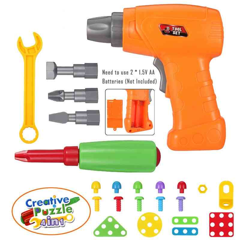 electric Drill Screw Disassembly Building Block Puzzle Accessories Toys For Childt