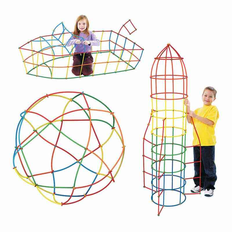 4d Diy Creative Assembly- Set Of Plastic Straws And Joints, Building Blocks