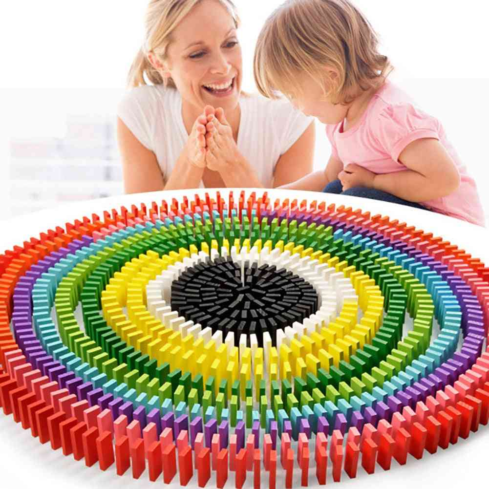 Colorful Wooden Dominoes Blocks For-early Educational Toy