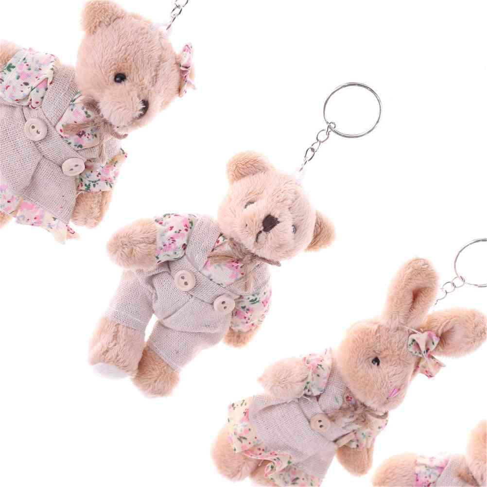 Floral Cloth Dolls Key Bag Pendants Couple Bear Rabbit Plush Keychain