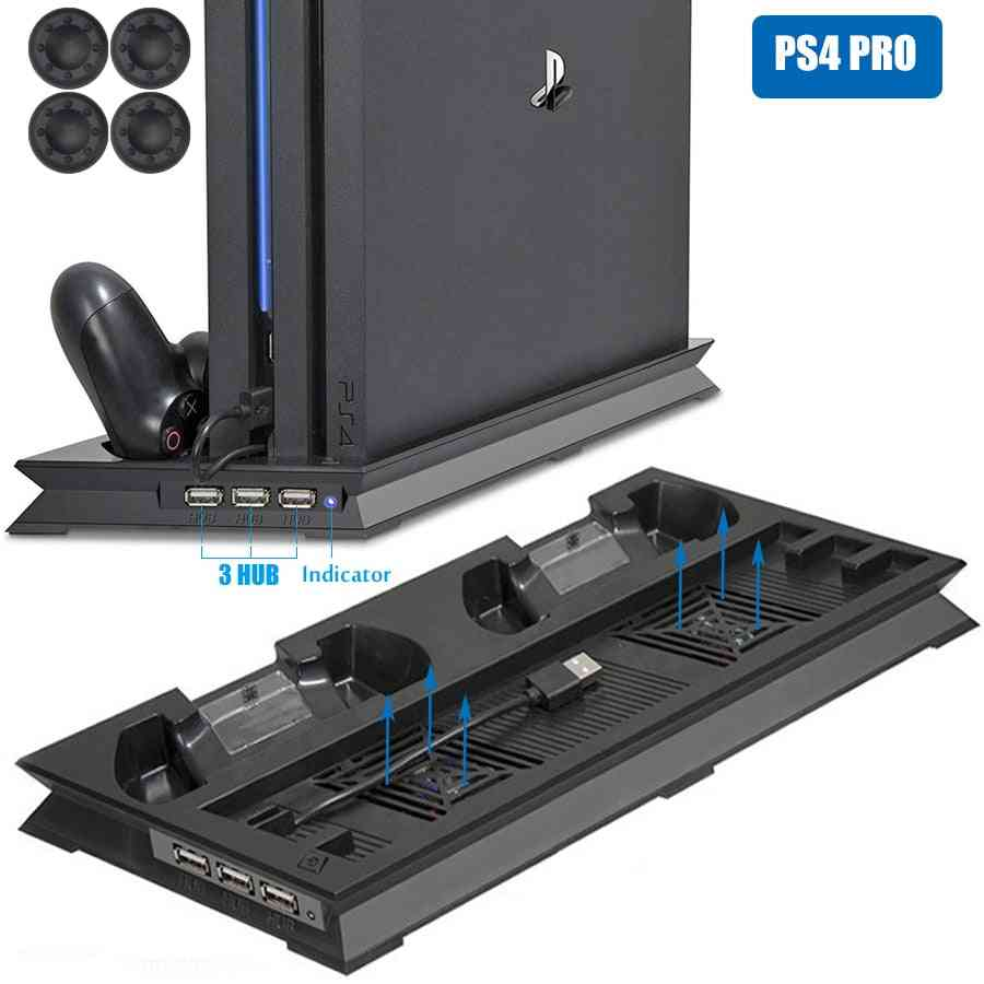 Ps4 Pro Ultrathin Charging Heat Sink Cooling Fan Cooler, Vertical Stand For Sony Playstation 4  Pro With Dual Controllers Charger
