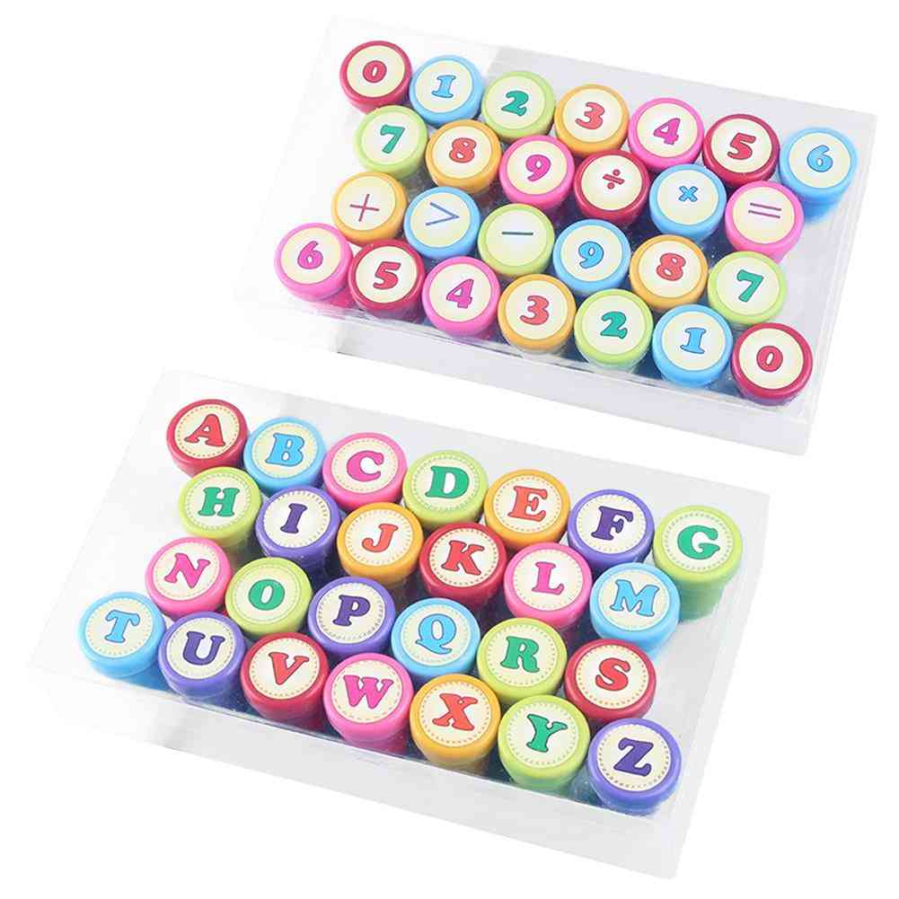 52pcs Of English-alphabet And Numbers-self-inking Rubber Stamp