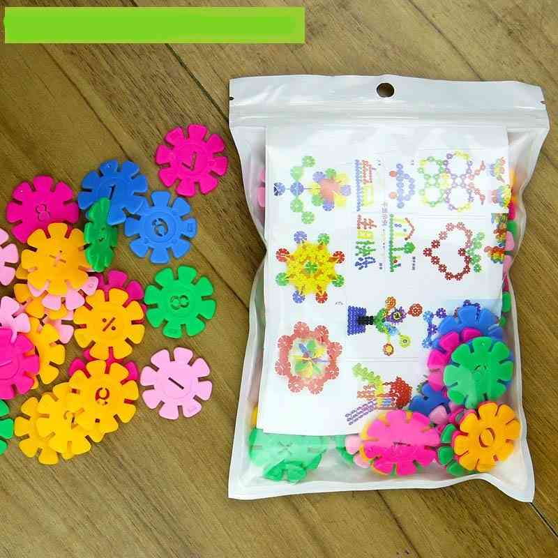 Large Thick Snowflake And Digital Assembled To Insert Blocks - Baby Educational