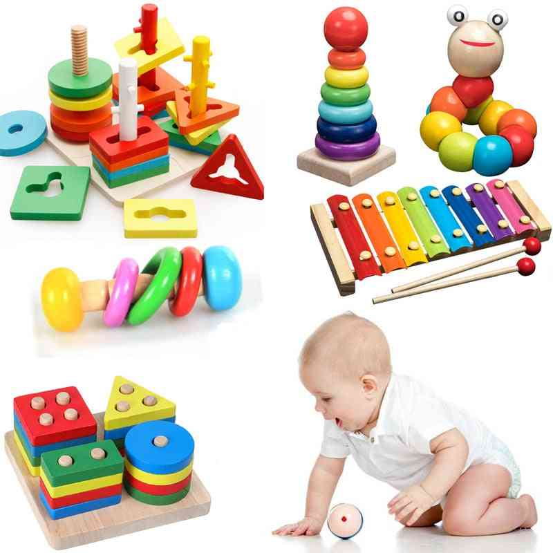 Montessori Wooden Rainbow Blocks Educational Toy