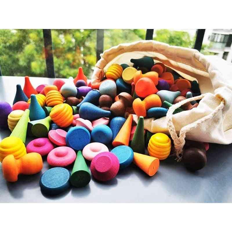 Children Beech Wooden Rainbow Blocks Loose Parts Toy
