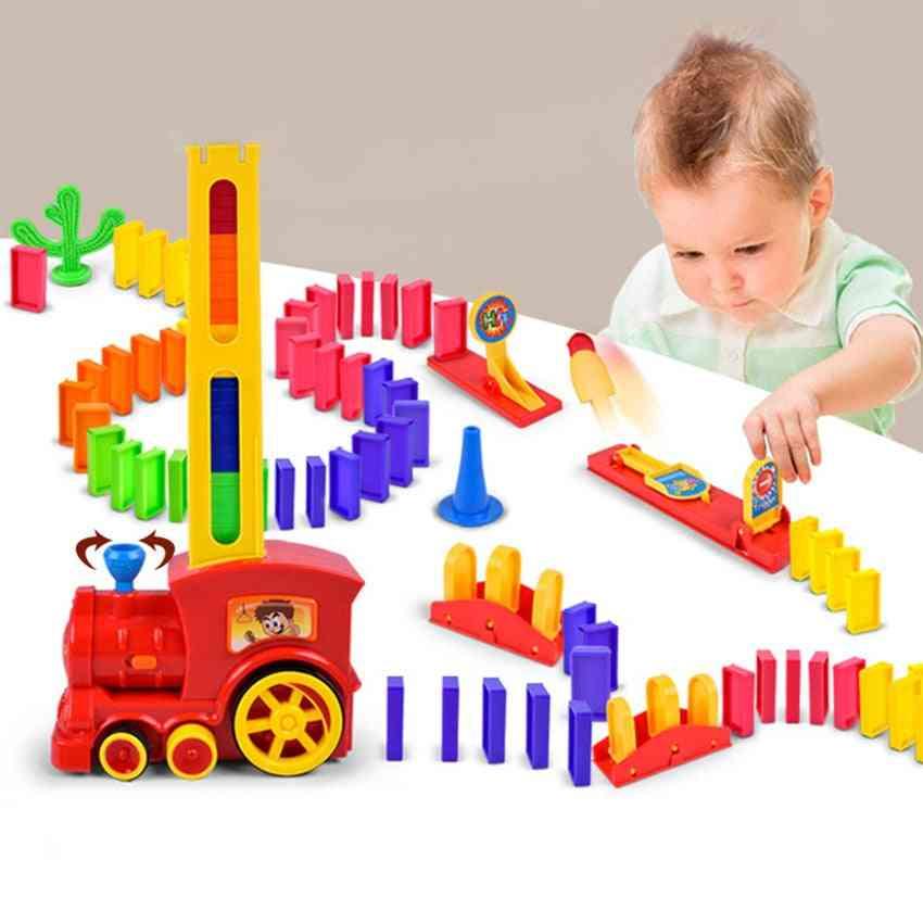 Plastic Dominoes Blocks Brick Diy Sound Light Toy For Boy / Girl