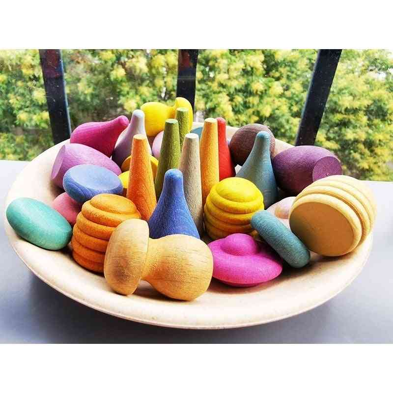 Children Wooden Rainbow Blocks, Loose Parts Toy