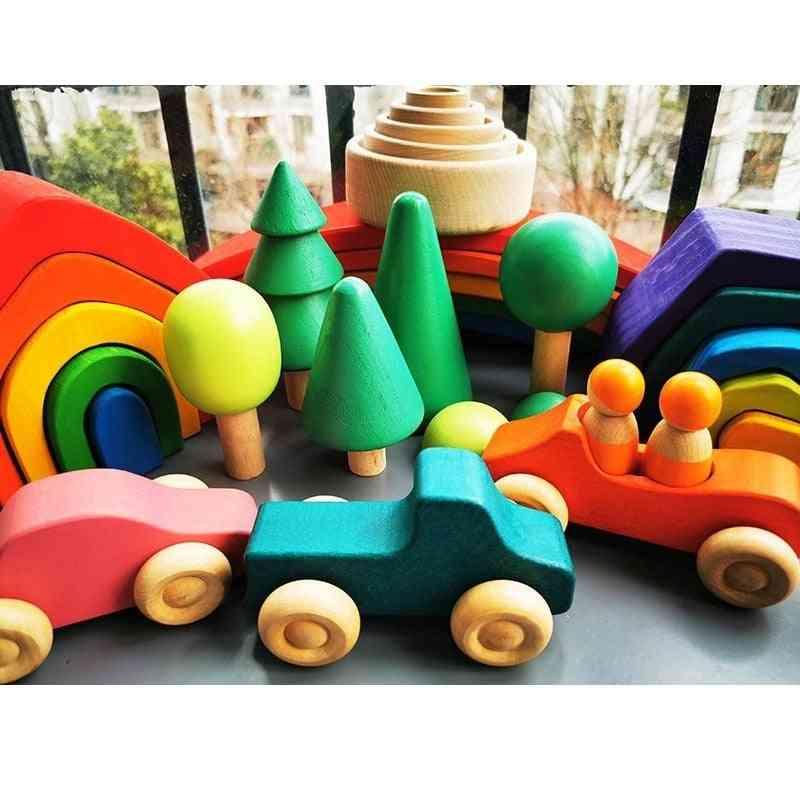 Baby Wooden Elemental Rainbow Stacking Blocks Montessori Toy