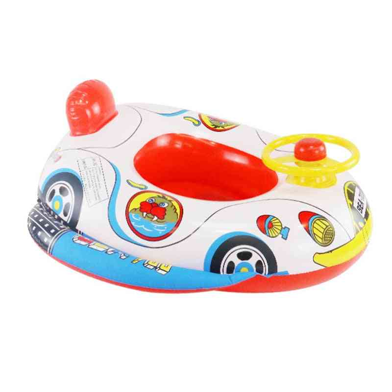 Summer Inflatable Float Mattress Child Swim Pool Water Cartoon Seat Car Trainer With Wheel Horn