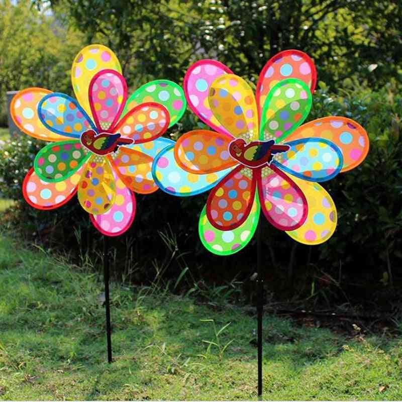 Flower Shape-double Layer, Fold Able With Peacock Wind Spinner For Home And Garden Decor