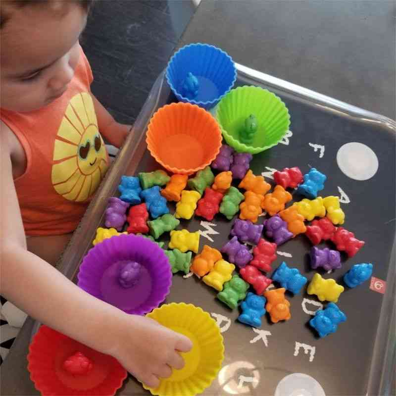 Set Of Colorful Bear And Cups-montessori, Educational Cognition
