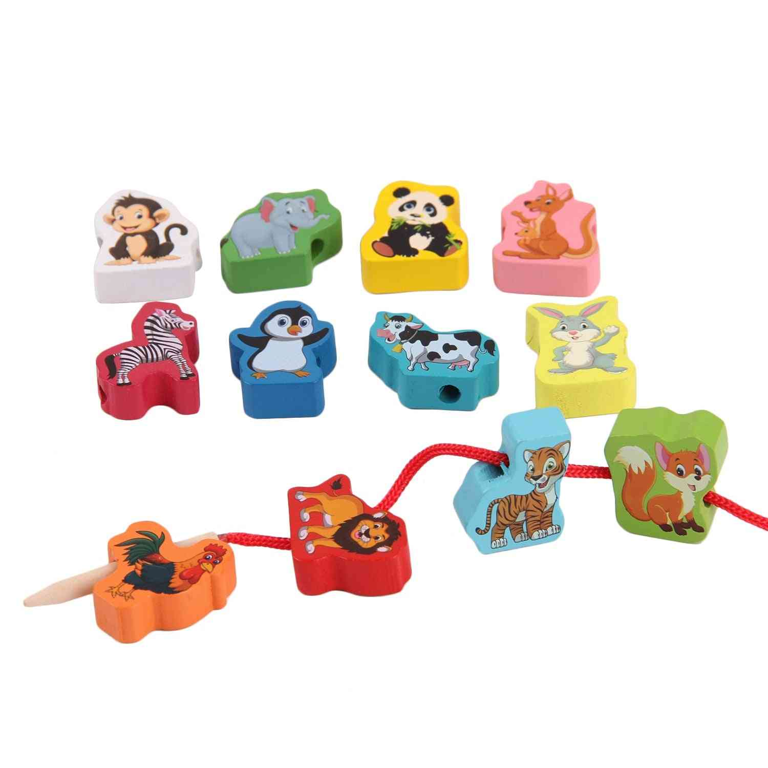 Montessori Colored Wooden Cartoon Animals Shaped String Threading Toy