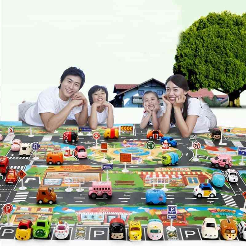 Large City Traffic Car Park - Waterproof Non Woven Kids Playmat
