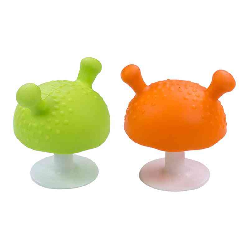 Mushroom Shaped, Silicone Soothing Teether Toy For Infants