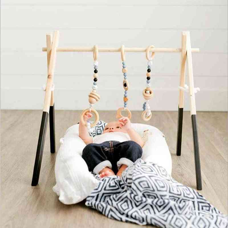 Nordic Baby Play Gym Wood Activity - Sensory Develop Wooden Play Game Frame For Early Education