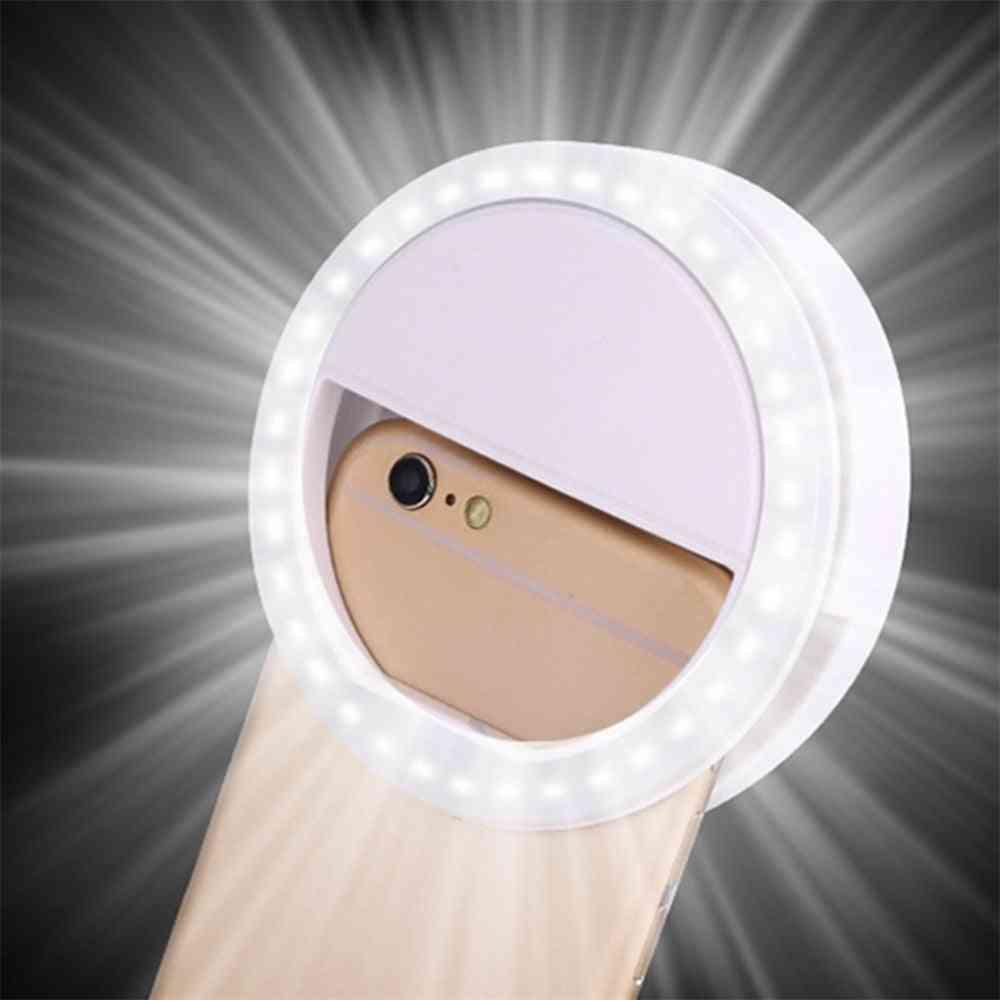 Led Ring Flash Universal Selfie Light - Portable Mobile Phone, Selfie Lamp, Luminous Ring Clip