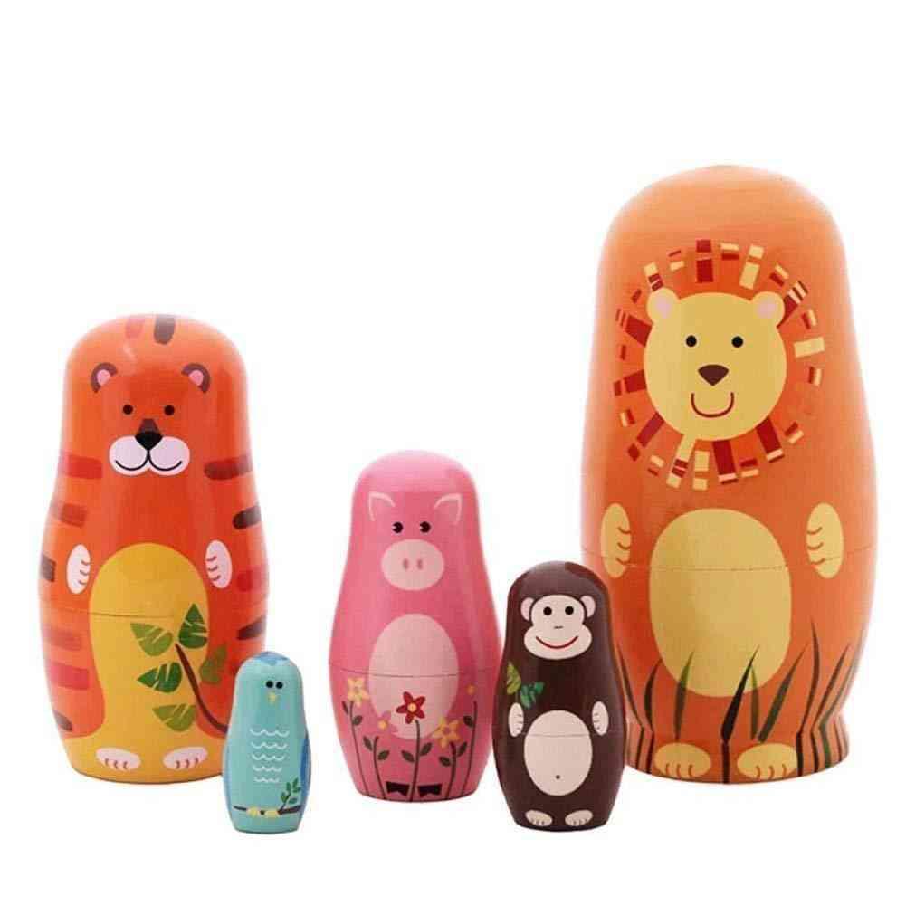 5pcs/set Wooden Bear Animal Russian Nesting Dolls Handmade Desktop Decor