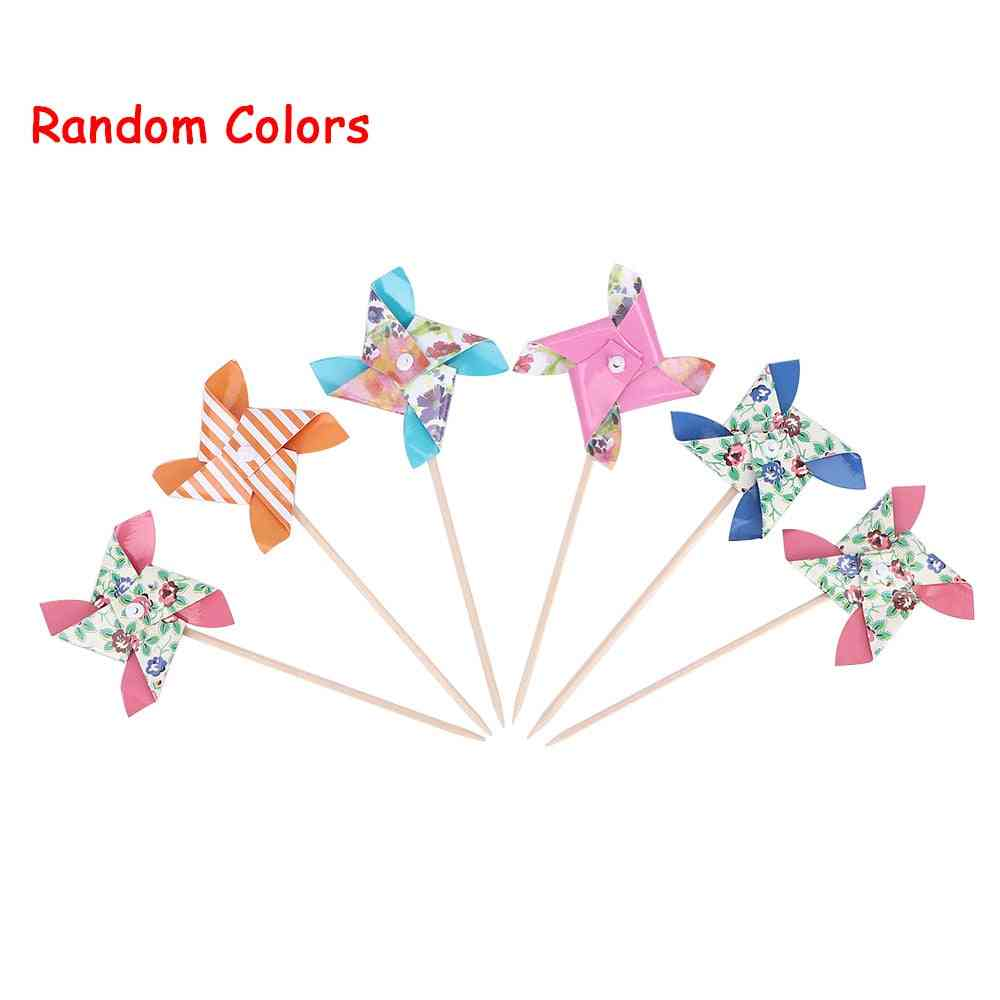 Spinner Pinwheel Whirl Flower Paper Windmill Toy, Yard Decor Outdoor Toy