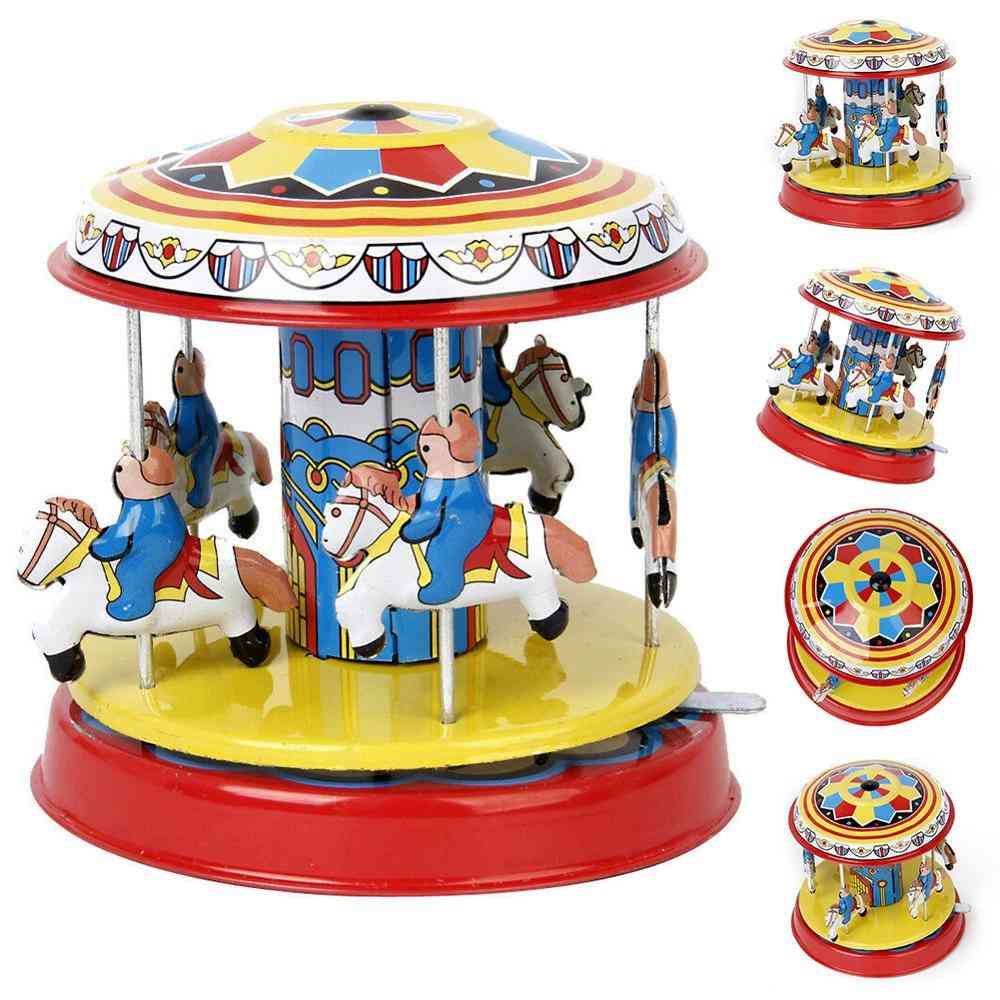 Vintage Wind Up Clockwork Carousel Rotating Art Crafts Toy - Puzzles Assembly Model