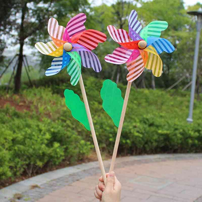 Beautiful High-quality 24cm Wood Garden Yard Party Windmill Wind Spinner Ornament Decoration Kids