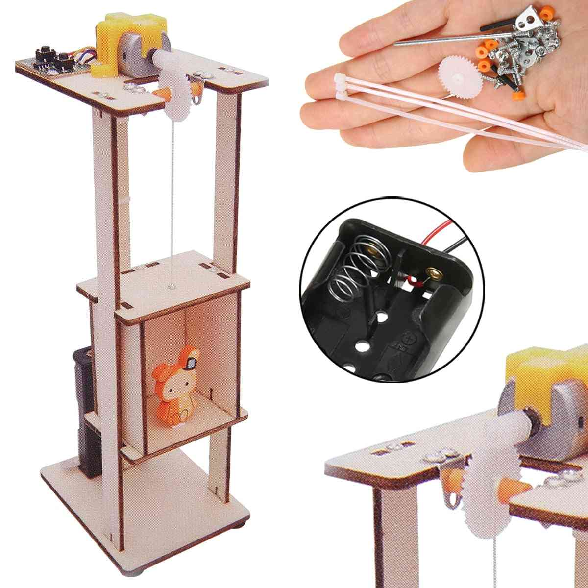 Wood Assemble Diy Electric Lift Kids Science - Experiment Material Kits Tool