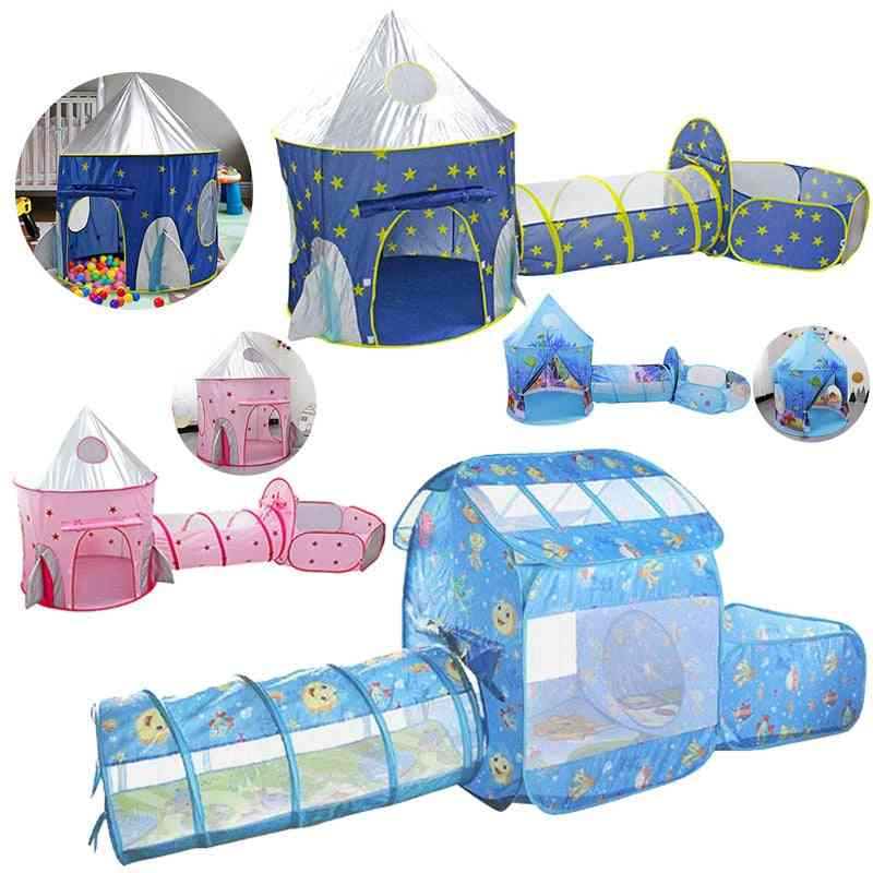 Tent House Play, Tunnel Crawling Playhouse, Castle, Ocean Ball Pool Pit Baby Folded Indoor Outdoor Game