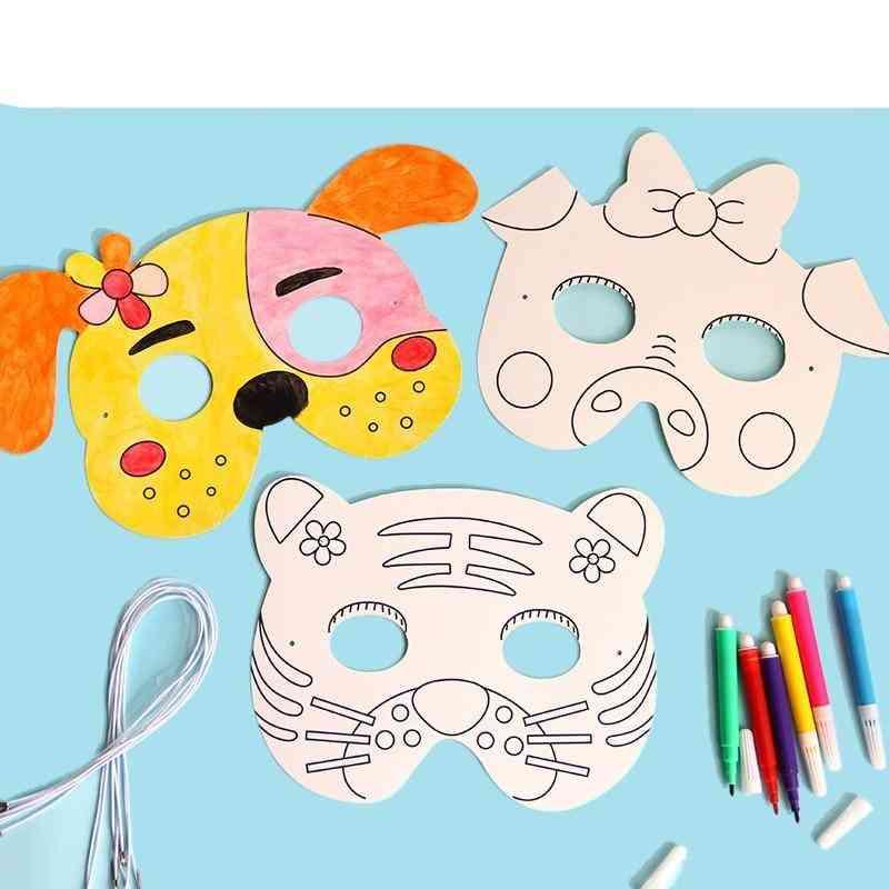 Cartoon Animal Painting Mask - Kindergarten Graffiti Art Crafts Creative Drawing For