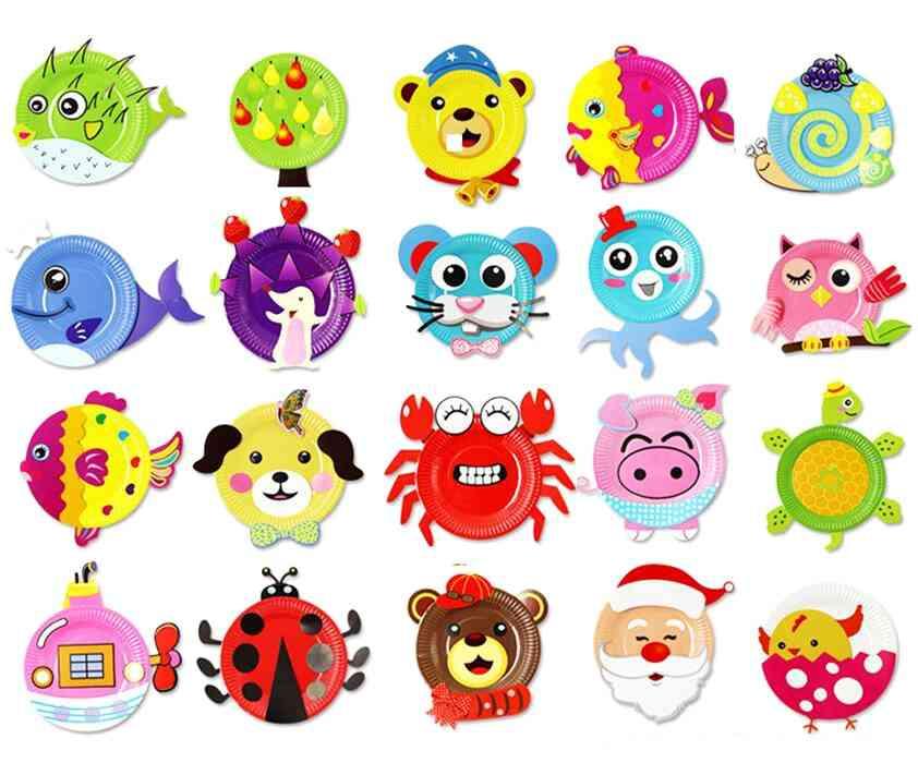 Children 3d Handmade 2 Paper Plate Sticker-craft Educational