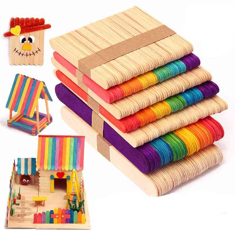 Wooden Popsicle Ice Cream Sticks, Colorful Hand Crafts Art