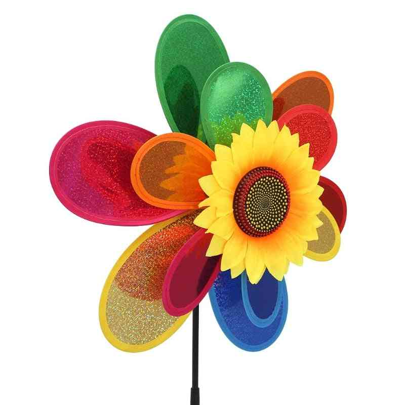 Sunflower Design, Sequins, Double Layer-wind Spinner