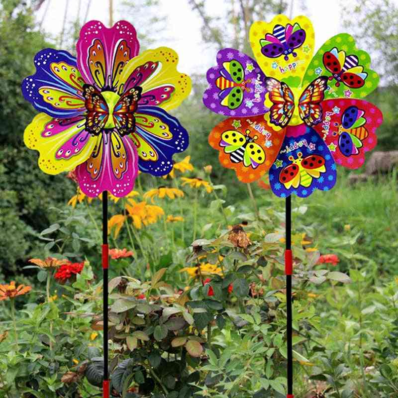 3d Multi-color Butterfly Flower Windmill Spinner For Garden Yard