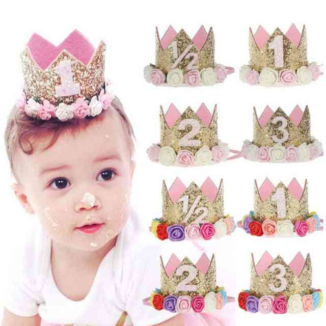 Happy Birthday Party Hats, Decor Cap Princess Crown 1st/2nd/3rd Year Old Number Baby Kids Hair Accessory