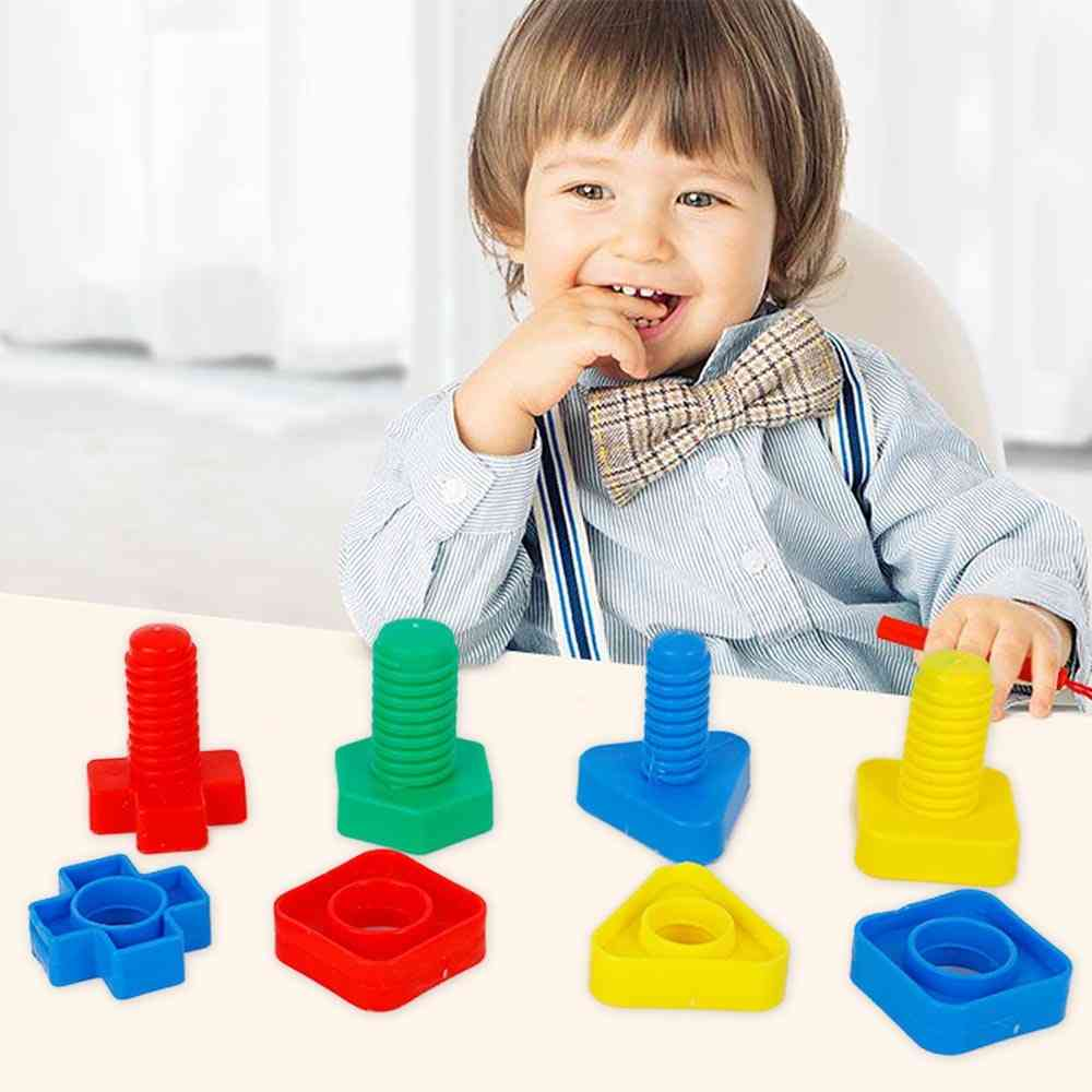 4pair Of Jumbo Nuts And Bolts Models Kit-building Blocks, Shape Matching Game Toy