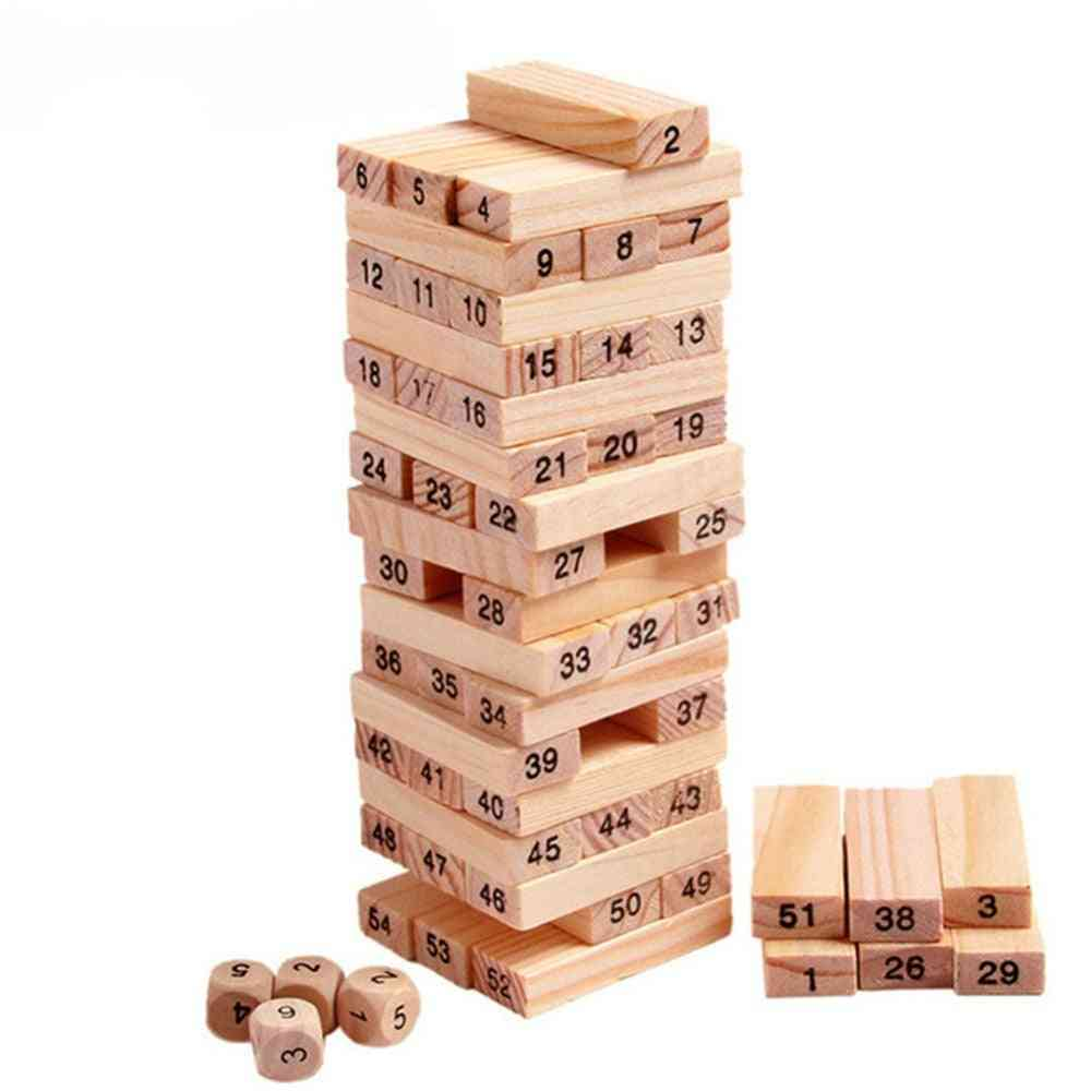 Wooden Tower Building Blocks, Rainbow Domino Stacker Board Toy