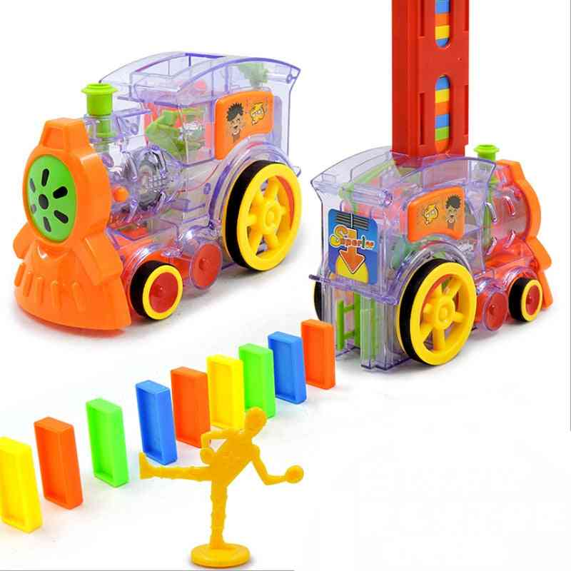Cartoon Rally Train Shaped Toy Set And Domino For