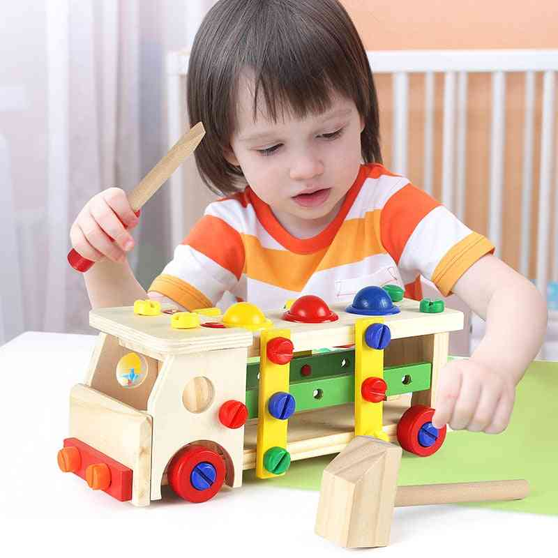 Wooden Blocks Game Assembling Disassembly Engineering Car Baby Toy Puzzle Educational