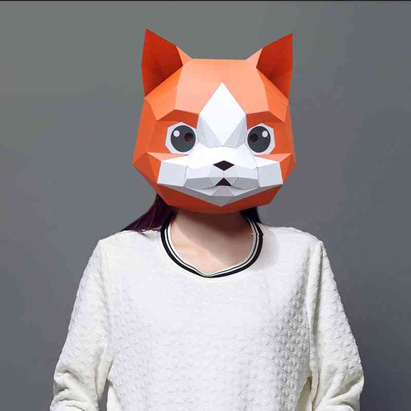 Cat Shaped, Diy 3d Paper Model Face Mask For Cosplay Halloween Party