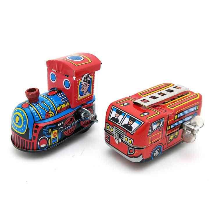 Kids Clockwork - Retro Steam Train, Fire Truck Reminiscence Vintage Tin Toy
