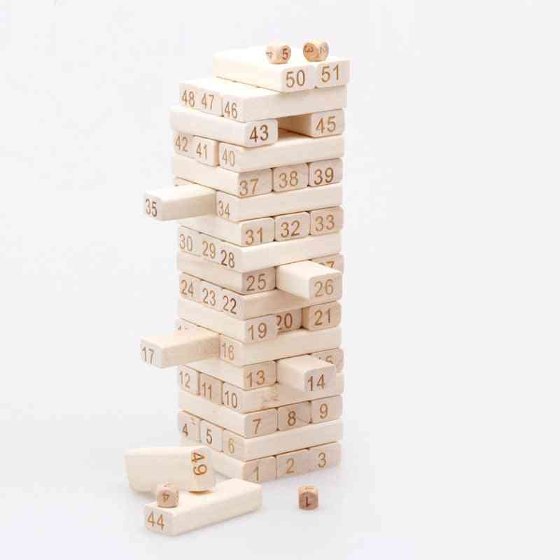 Tower Wood Building Blocks Jenga Domino Game Kids Developmental