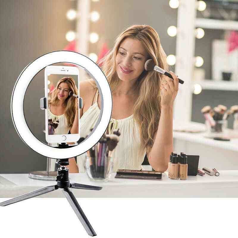 Led Ring Light-dimmable Selfie Lamp With Tripod