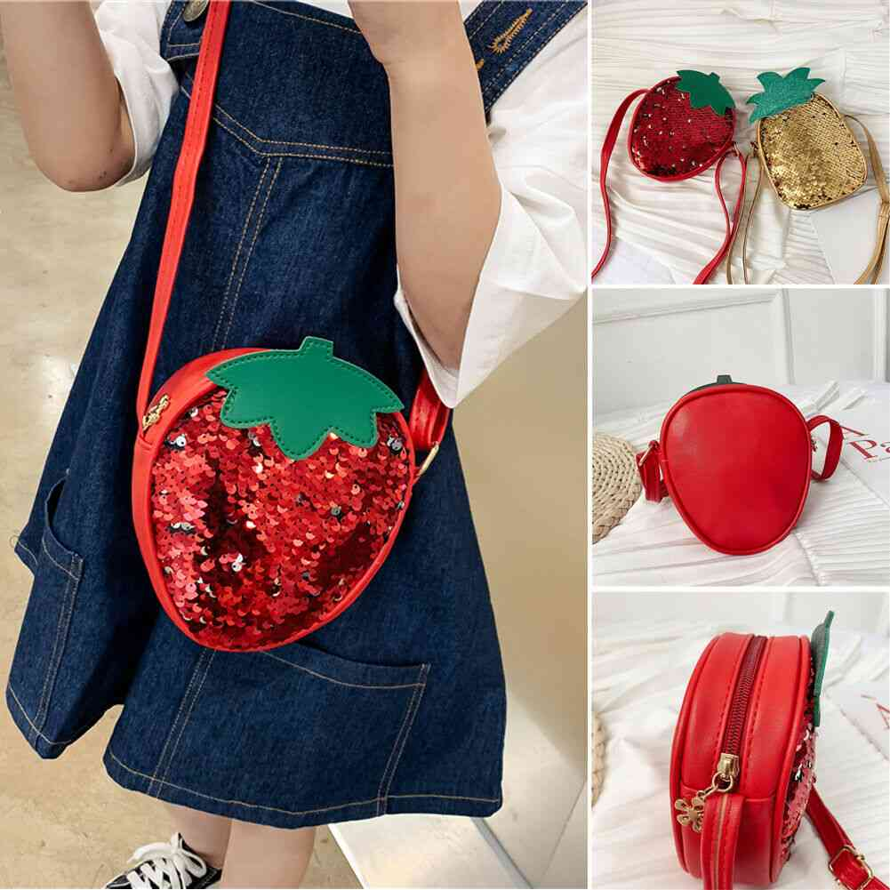 Pu Leather, Sequin Style, Strawberry And Pineapple Shape-cross Bags
